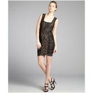 BCBGMAXAZRIA Black Rene Lace Ruching Dress